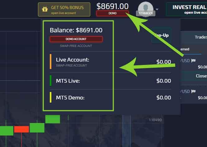 Alternate between accounts in Pocket Option