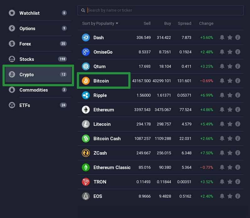How to trade Bitcoin on the IQ Option platform 1